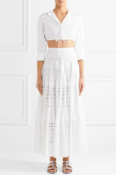 Alaïa - Laser-cut Pleated Cotton-blend Maxi Skirt - White - FR38
