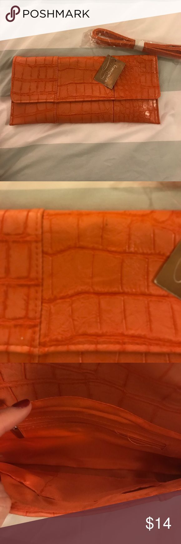 NWT Orange Clutch A must have! Never used! Brand new with tags! Francesca's Collections Bags Clutches & Wristlets