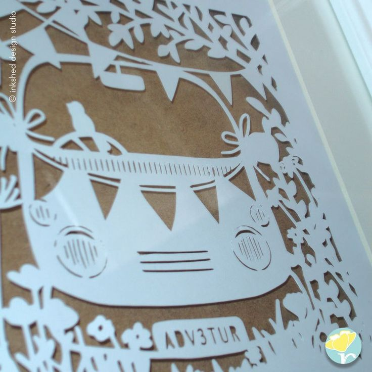Treasure your perfect day memories with a Unique Personalised Keepsake Gift - Paper Cut Design - #Campervan #bunting #handmadegift #madeindorset #paperbuttercup