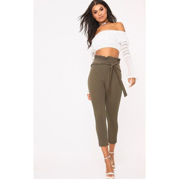 Khaki Paper Bag Skinny Trousers ($19) ❤ liked on Polyvore featuring pants, capris, green, skinny leg khaki pants, pink skinny pants, green khaki pants, skinny trousers and summer pants