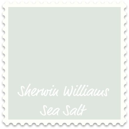 """Sherwin Williams Sea Salt - """"cool neutral with blue-green undertones""""  """"drenched in natural light, it takes on a slightly bluer, grayer hue.  In artificial light, it's more of a blue-green."""" """"sets the stage for a light, airy fresh room"""" """"spa like"""" """"with whites and turquoise, Sea Salt can lend a shabby chic vibe"""""""