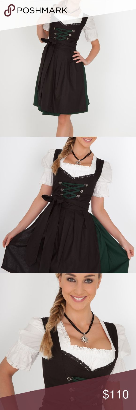 Authentic German Oktoberfest Dirndl Authentic and traditional Dirndl ordered from Germany; size 32; NWT. Great for Oktoberfest parties or Halloween!!!  Ordered the incorrect size. Beautiful colors - green and black. Bodice features silver edelweiss flowers - often seen on Oktoberfest attire, through which dark green contrast lacing is threaded. The blouse included has the perfect touch of lace. Dresses Midi