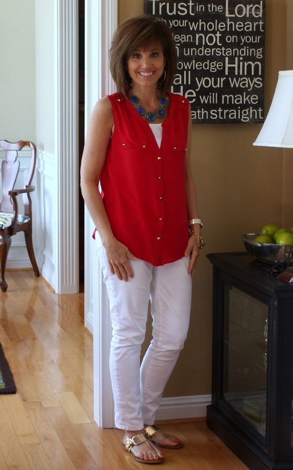 Easy summer style for family and friend get togethers for 4th of July and other summer holidays. Red White and Blue Outfit Idea | Fashion over 50 | Summer Outfit Ideas