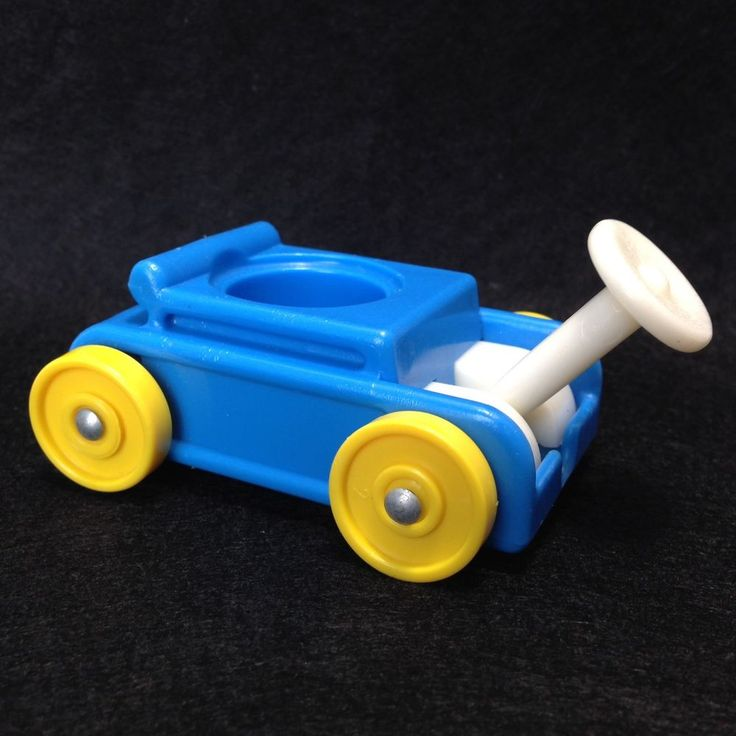 Fisher Price Little People Vintage Play Family Little Riders Blue Pull Wagon  #FisherPrice