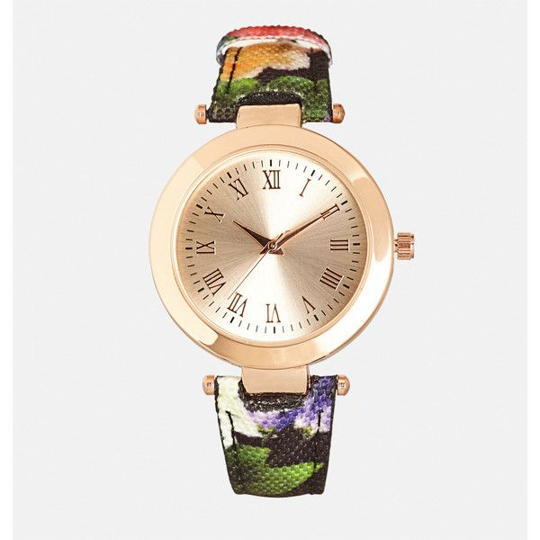 Avenue Floral Strap Watch ($13) ❤ liked on Polyvore featuring jewelry, watches, plus size, rose, rose watches, stainless steel jewelry, rose jewellery, rose jewelry and stainless steel jewellery