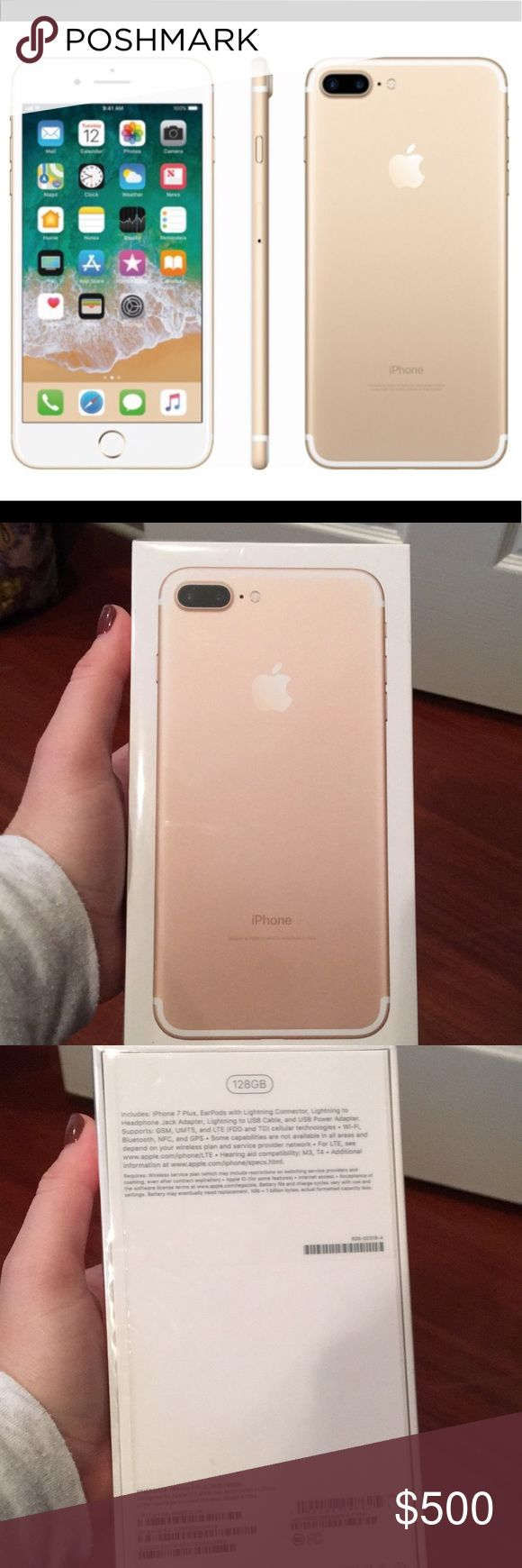 iPhone 7 Plus in Gold 128GB Brand New AT&T iPhone 7 Plus features Dual 12MP cameras for high-resolution zoom and an ƒ/1.8 aperture for great low-light photos and 4K video. Optical image stabilization. A 5.5-inch Retina HD display with wide color and 3D Touch. An A10 Fusion chip for up to 2x faster performance than iPhone 6. Touch ID. Faster LTE. The longest battery life in an iPhone. Immersive stereo sound, splash and water resistant, and iOS 10. Apple Other