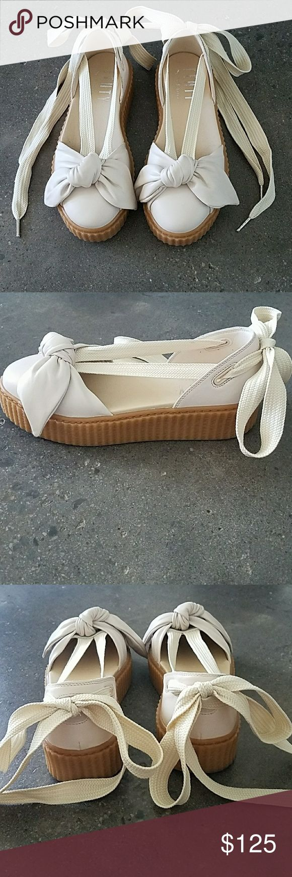 Fenty Puma By Rihanna Bow Creeper Sandal Brand new (only worn once) Rihanna Fenty Puma sandals with wrap around laces in beige. Comes with Fenty black velvet shoe bag for storage. Rihanna Shoes Sandals