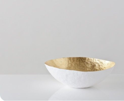 Paper Mache Bowl with Gold Leaf by Susan Dwyer
