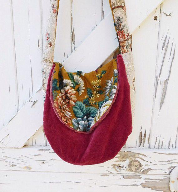 Bohemian Velvet Fabric Carpet Bag Gypsy Boho by tenaseeandteneil