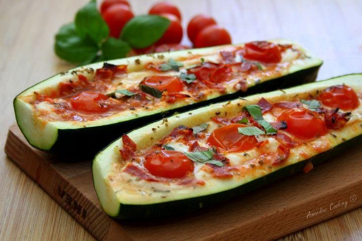 Courgettes farcies façon pizza, mozzarella - tomate & chorizo