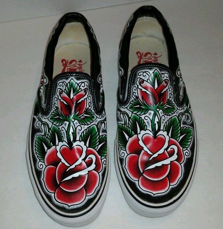 Vans Off The Wall Oliver Peck Rose Tattoo Slip On Shoes Us Sz Mens 9 Womens10 5