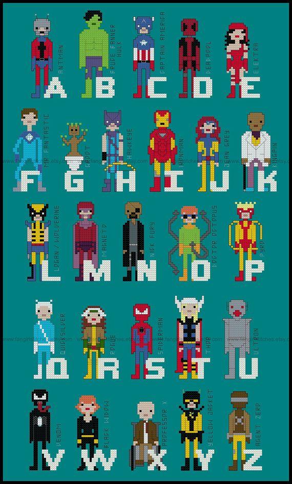 Superhero Comic Book Alphabet Cross Stitch от FangirlStitches