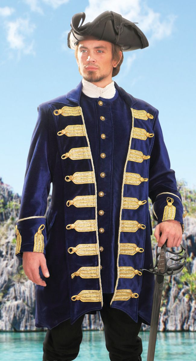 This is one of the most ornate pirate coats we offer. This stately coat is  manufactured of lush 469314a14841