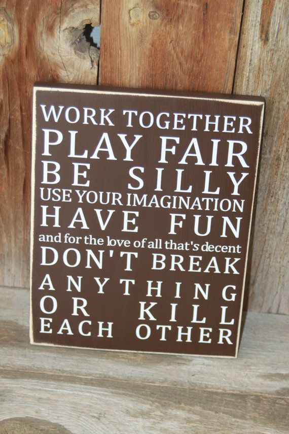 Playroom Rules/Kid Rules - Subway Art Board  with Vinyl lettering on Etsy, $15.00