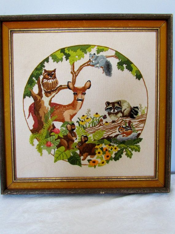 Beautiful vintage crewel embroidery picture nature