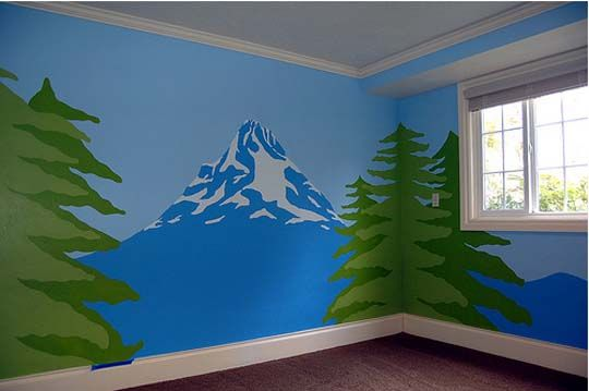 Love the mountain but brown, no trees, and only on one wall... Maybe incorporate water for Noah's Ark nursery when the water is receding...