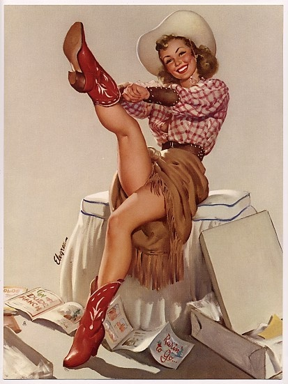 Vintage cowgirl. #Elvgren western-wear-and-products-i-love