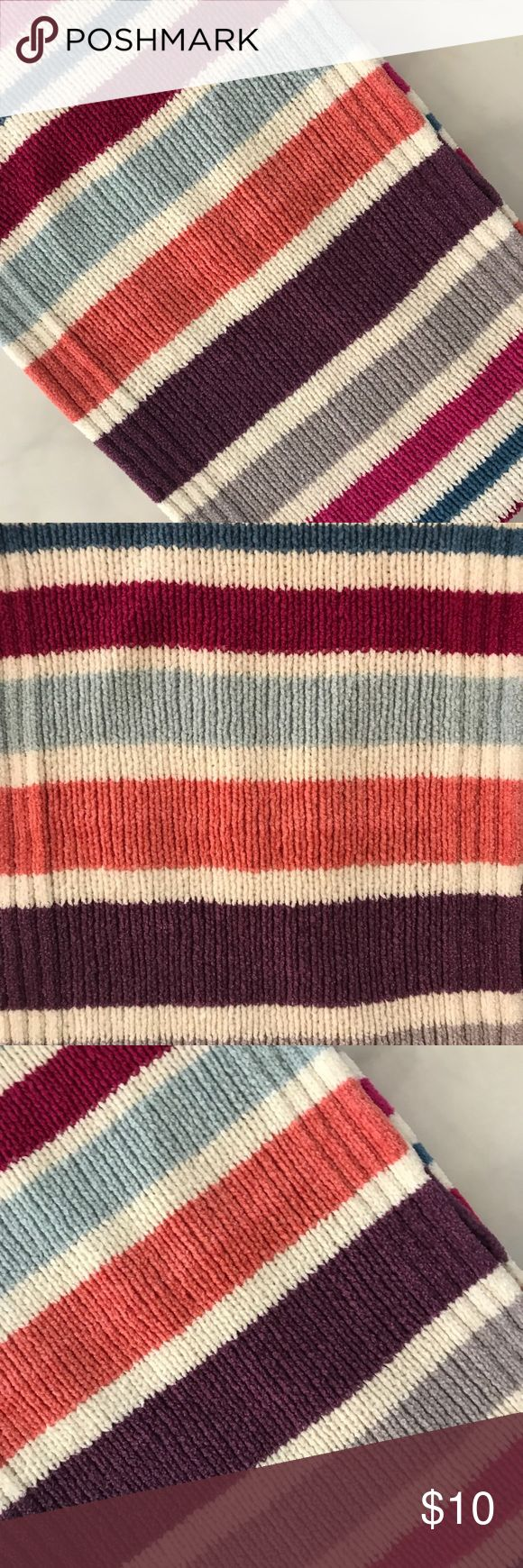 Multi Colored Striped Scarf This is a beautiful multi colored scarf from Macys. Perfect for the colder weather and with a sweater, jeans and boots. Very cute and very pretty! Macy's Accessories Scarves & Wraps