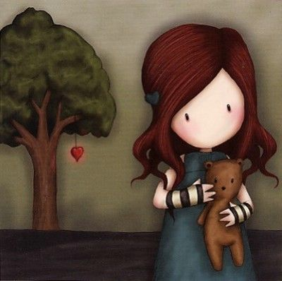 Girl holding bear. Heart growing on Tree in the distance By Suzanne Woolcott
