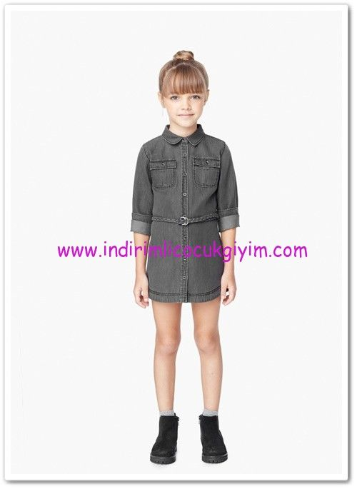 Mango Kız Çocuk Cepli Kot Elbise