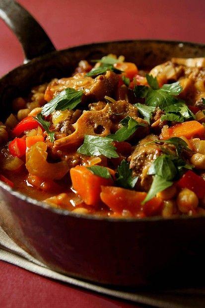 Jill Dupleix's oxtail and chickpea stew. Photo by Jennifer Soo. Recipe: http://www.smh.com.au/lifestyle/cuisine/meat/recipe/oxtail-and-chickpea-stew-20111019-1m1e0.html?rand=1340602609191