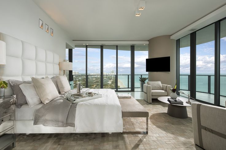 The master bedroom of a penthouse at the Regalia tower in Sunny Isles Beach, Fla., was constructed by Finish My Condo, a Miami-based contractor. The master bedroom in this unit takes up 50% of the home's total 5,700-square-foot floor plan. The suite includes an entertainment area with a large projection-screen TV hidden in the ceiling.