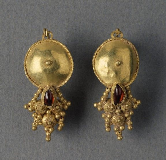 Pair of Gold Earrings - Pair of earrings is decorated with coarse filigree and granulation, Roman, 3rd century AD