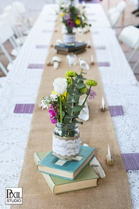 simple table settings exactly like this down to the longer table setup.. Vintage ... & 12 best book launch images on Pinterest | Table centers Desk ...