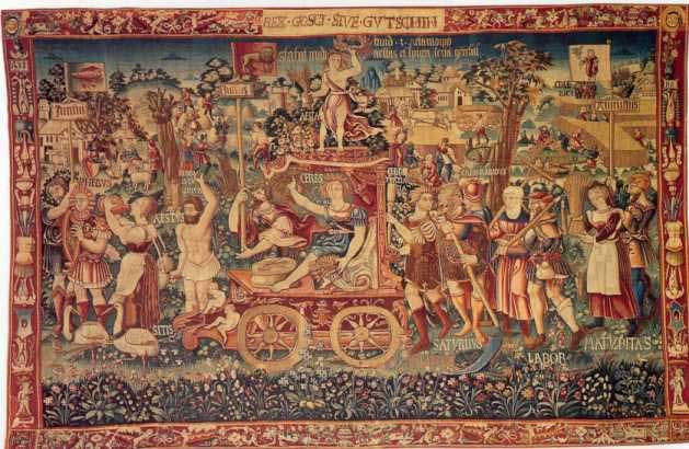 This Tapestry is called a Summers Triumph and it was created in Bruges in 1538. it is presently be held at the National Museum in Bayerisches. If you look closely you can see several UFOs or disc like objects at the top of the tapestry in the sky.: