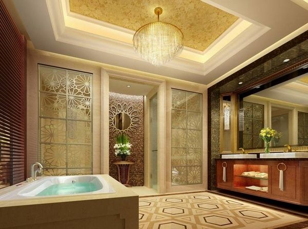 Bathroom Ceiling Design Ideas Master Bathroom Ideas Vanity Cabinet Crystal Chandelier Bathroom Design Luxury Luxury Hotel Bathroom Unique Bathroom Design