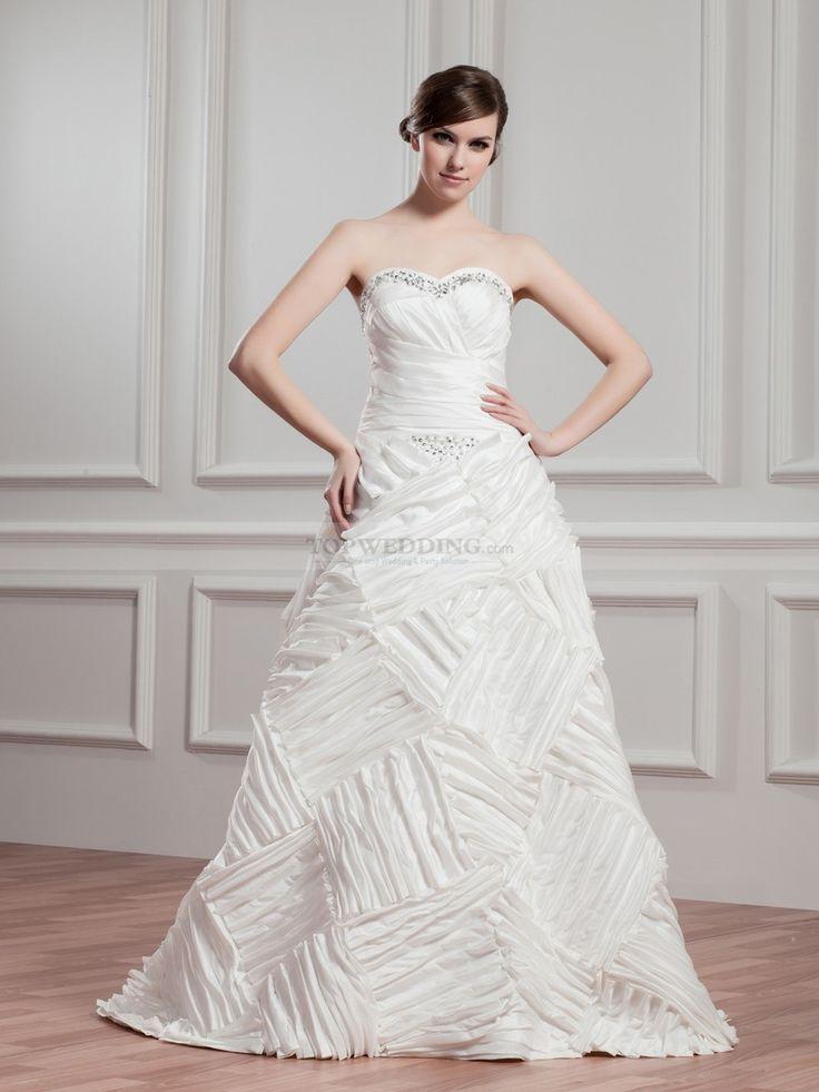 Renatha - corte a escote corazón vestido de novia de tafetán con cuentas