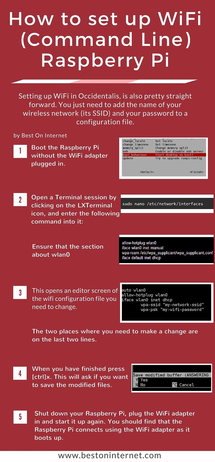 #RaspberryPi Wifi Adapter Setup Via Command Line  http://www.bestoninternet.com/compute/electronics/raspberry-pi-wifi-dongle-usb-adapter/  I have explained how to set up wifi in Raspberry Pi in this infographic. Hope you like it. Please share this infographic if it's beneficial to you.