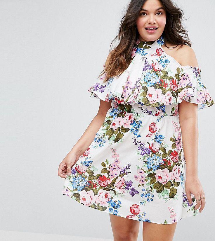 ASOS CURVE Halter Cold Shoulder Skater Beach Dress in Floral - Multi
