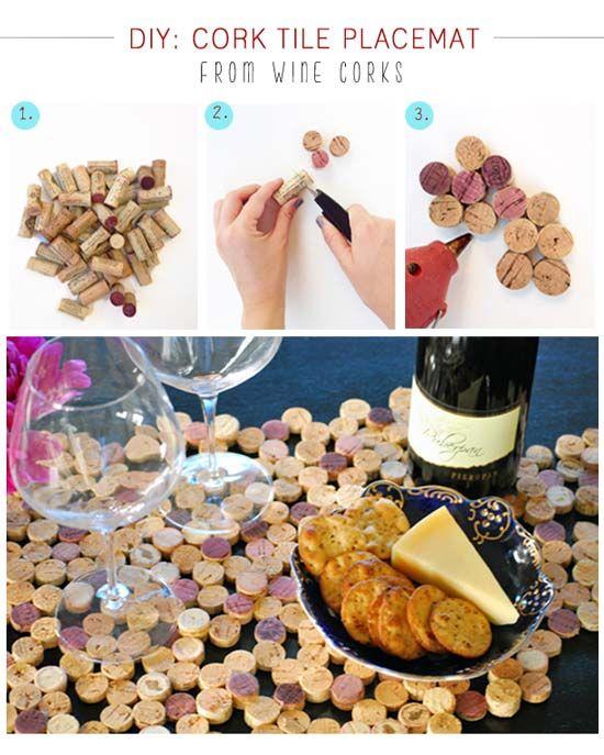 posavasos o para las ollas calientes con tapones de corcho de vino