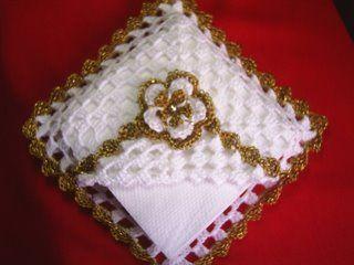 porta guardanapo de croche | Luthy - Arte em Crochê: Porta Guardanapos Dourado                                                                                                                                                                                 Mais
