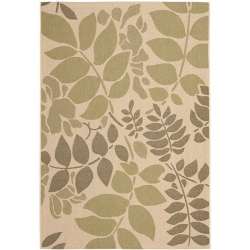 Courtyard Cream and Green Rectangle: 6 Ft. 7 In. x 9 Ft. 6 In. Area Rug - (In Rectangular)