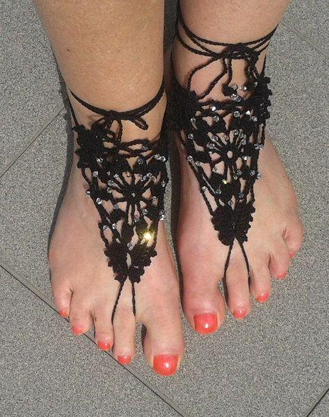 Blote Voeten Sandalen met Kristallen van Titfer Designs op DaWanda.com