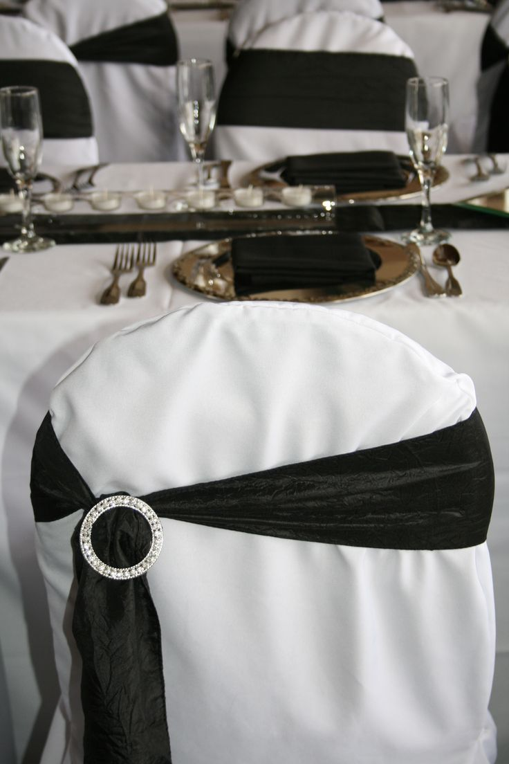 Chair sashes styles - White Chair Cover With Black Crinkle Off Center Sash Added Bling