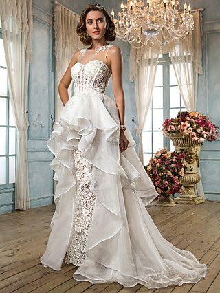 Asymmetrical style lines wedding dress