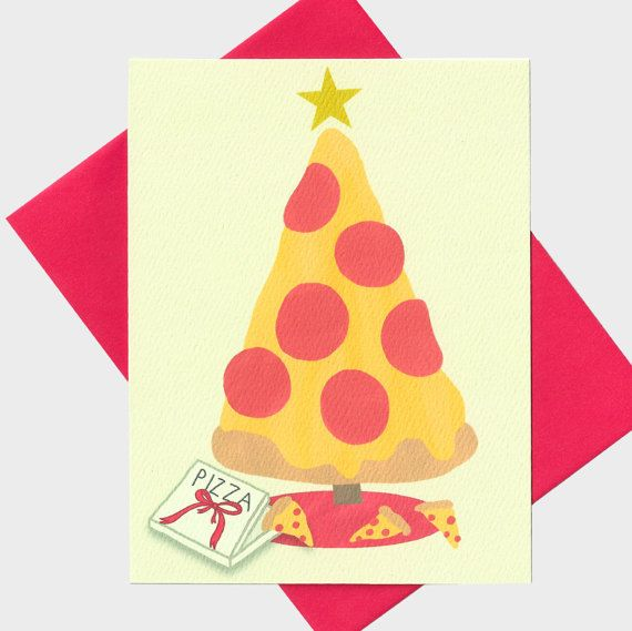 Tienen una deliciosa Navidad - Pizza árbol de Navidad tarjeta - tarjeta del día de fiesta - divertida tarjeta de Navidad - vacaciones divertidas -
