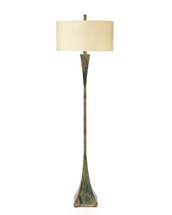 Limited Production Design Stock Tall Contemporary Art Metal Floor Lamp Heat Treated Brass Mottled Multi Tone Finish Off White Shade Partner Buffet