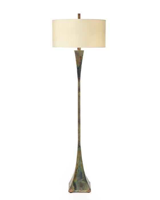 Limited Production Design & Stock: Tall Contemporary Art Metal Floor Lamp *  Heat Treated Brass, Mottled Multi Tone Finish, Off White Shade * Partner  Buffet ... - 55 Best LIGHTING - FLOOR LAMP Images On Pinterest Floor Standing