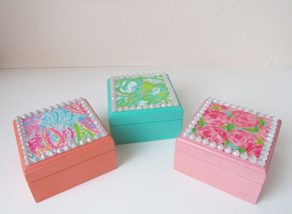 Lilly Pulitzer Inspired First Impression Elephant Ears Let's Cha Cha Wooden BADGE BOX Jewelry Treasure Preppy Sorority gift Big Little