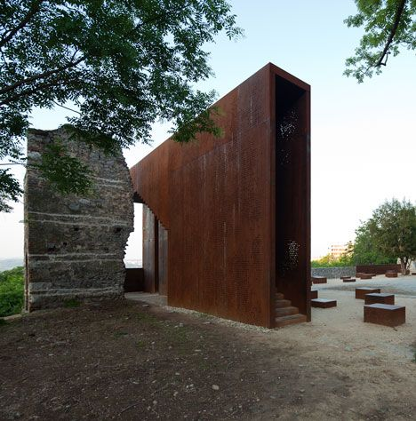 Budapest architects MARP replaced the missing corner of a ruined Renaissance palace with a Corten steel lookout point