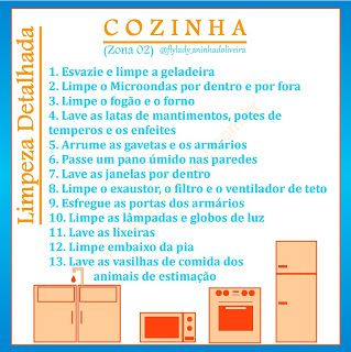 Casa Fly: Lista de limpeza detalhada   Zona 2: Cozinha