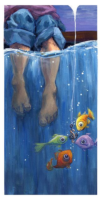 Tippy toes in the water with the fishes! Oh what a cute painting of little fisherman.