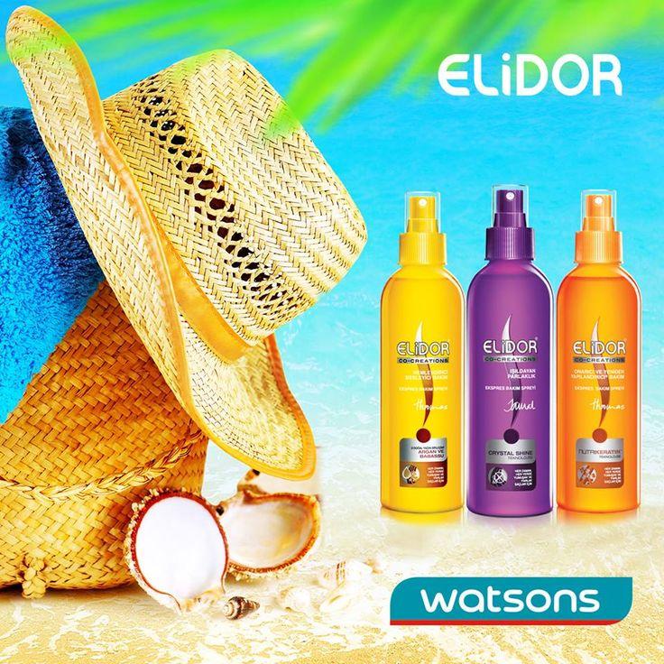Plaj çantanızın yeni favorisi Elidor Sıvı Saç Kremi ile, deniz ve güneşe aldırmayan, güçlü ve bakımlı saçlar! Watsons Buyaka B1 katında.