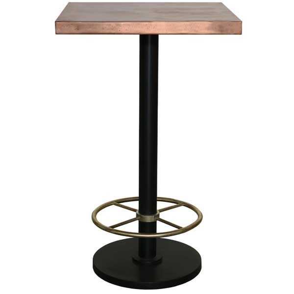 Bistro Bar Table With Copper Top Brass Footrest Square Copper Bar Stools Copper Top Table Copper Bar