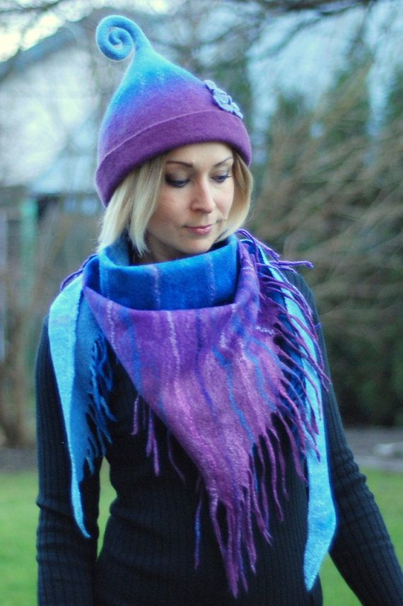 Felted scarf wrap shawl made of Merino wool by zavesfelt on Etsy