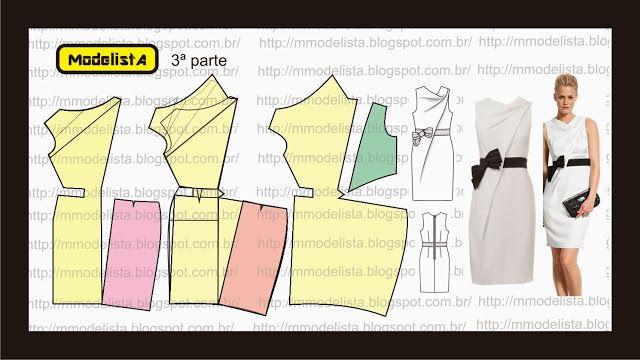 Modelagem de vestido com drapeado em cascata da marca Paule Ka. ModelistA: VESTIDO COWL 3ª part